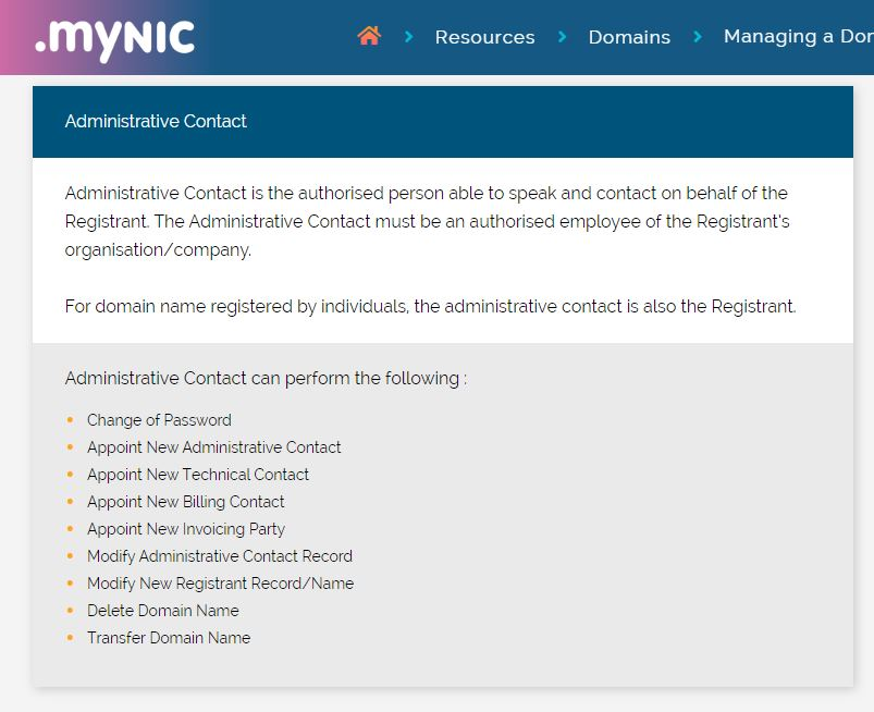 MYNIC Administrative Contact Role and Responsibilities